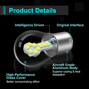 Image 3 - 1pcs P21W Led Bulb 1157 P21/5W BAY15D Led 1156 BA15S Lamp 18SMD 3030 Chips Super Bright Auto Light Source Reverse Bulb 12V