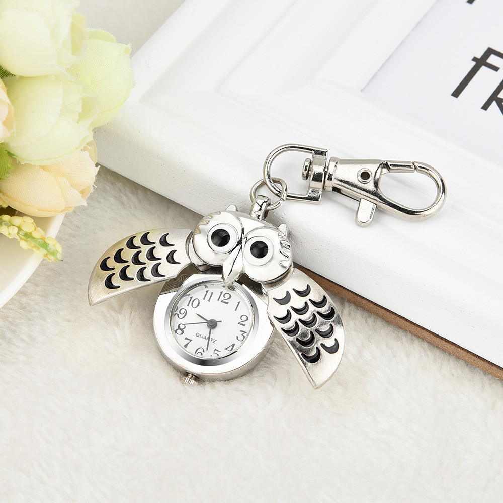 Pocket Watch With Cute Cartoon Keychain Owl Fashion Gorgeous Owl Watch Clip Pocket Keychain Reloj De Bolsillo карманные часы