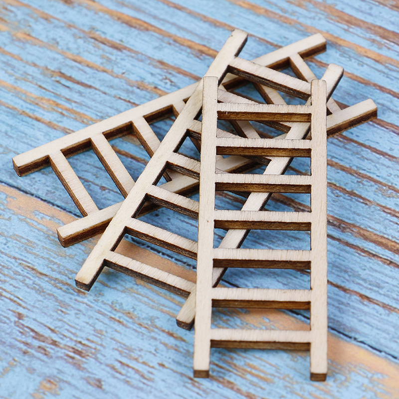 3 PCS/lot 1:12 Dollhouse Miniature Fairy Garden Decor Dollhouse Miniature Wood Step Ladder Furniture Tools