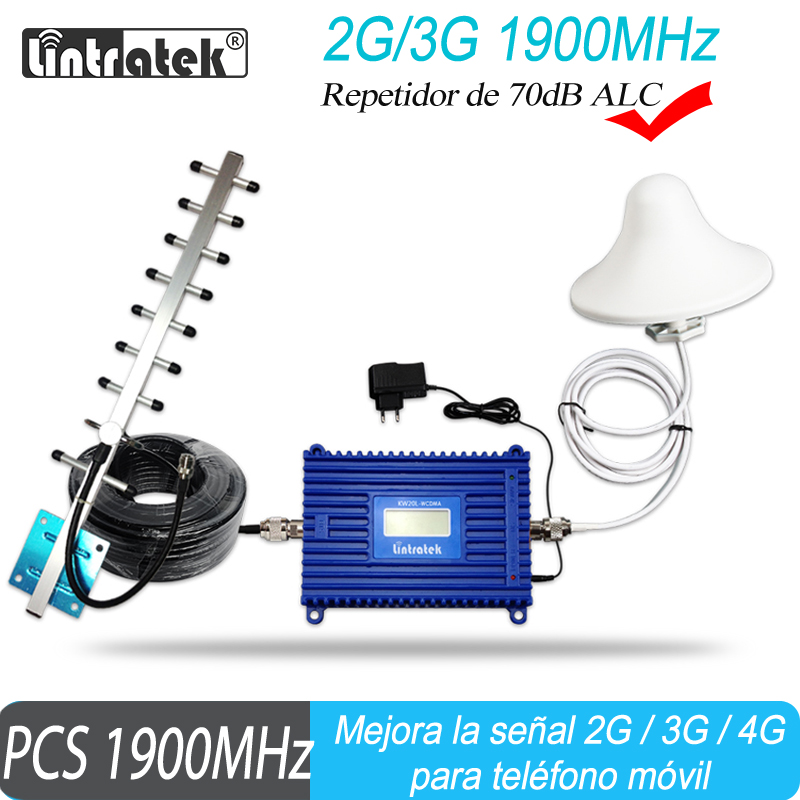 Lintreatek GSM 1900 Mobile Signal Booster PCS 1900mhz Cell Phone Cellular Repeater 70dB Band 2 Amplifier With ALC Function