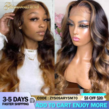 Colored Body Wave Lace Front Human Hair Wigs Honey Blonde Highlight Wig Brazilian 4x4 Lace Wigs For Black Women Remy Density 180