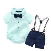 Одежда для маленьких мальчиков Детский комбинезон на 2 года + бант + темно-синие шорты + пояс для подтяжек комплекты одежды для малышей