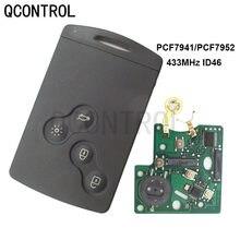 Qcontrol 4 botões remoto chave do carro cartão inteligente fob 433mhz pcf7941 ou pcf7952 chip para renault megane laguna cénica koleos clio