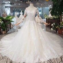 HTL287 Simple boho Wedding Dress with detachable train off shoulder v neck A line lace bridal dress biala sukienka