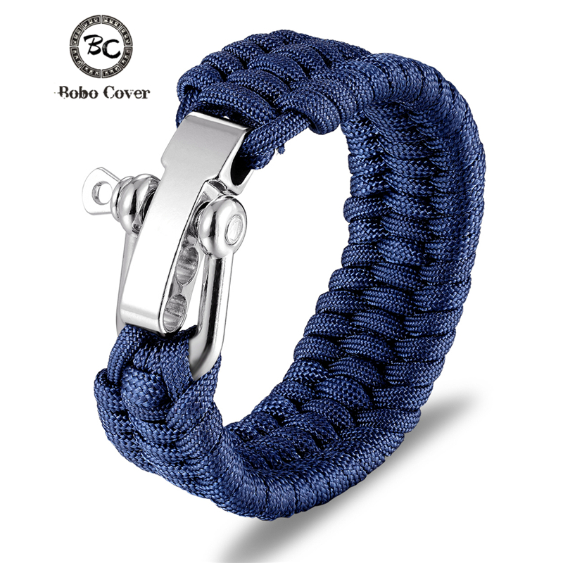 Outdoor Camping Stainless Steel Bracelet Men Paracord Parachute Rope Wristband Survival Bracelet Homme Handmade Braided Jewelry