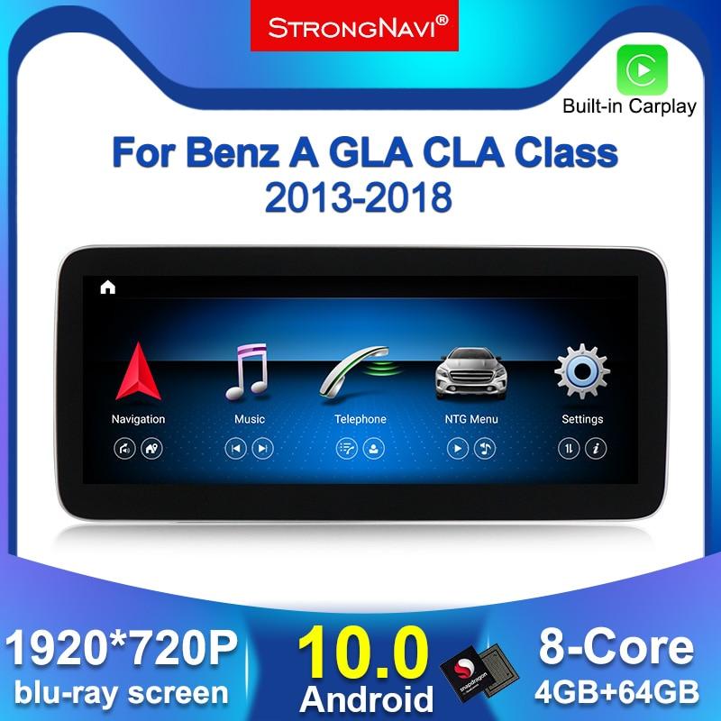 Автомагнитола с GPS-навигацией, 1920x720 IPS, 8 ядер, 4 + 64 ГБ, Android 10, для Mercedes Benz A W176 CLA C117 X117 GLA X156, Wi-Fi, BT 4G
