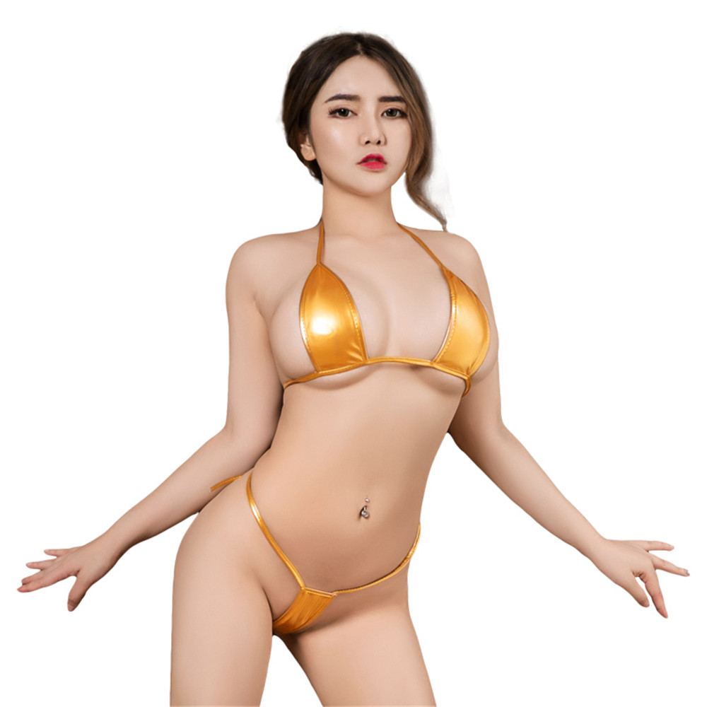 sexy micro bikini 2019 Patent leather Pure color Bandage Adjustable Super small sexi bikinis set swimwear women swimsuit biquini-2