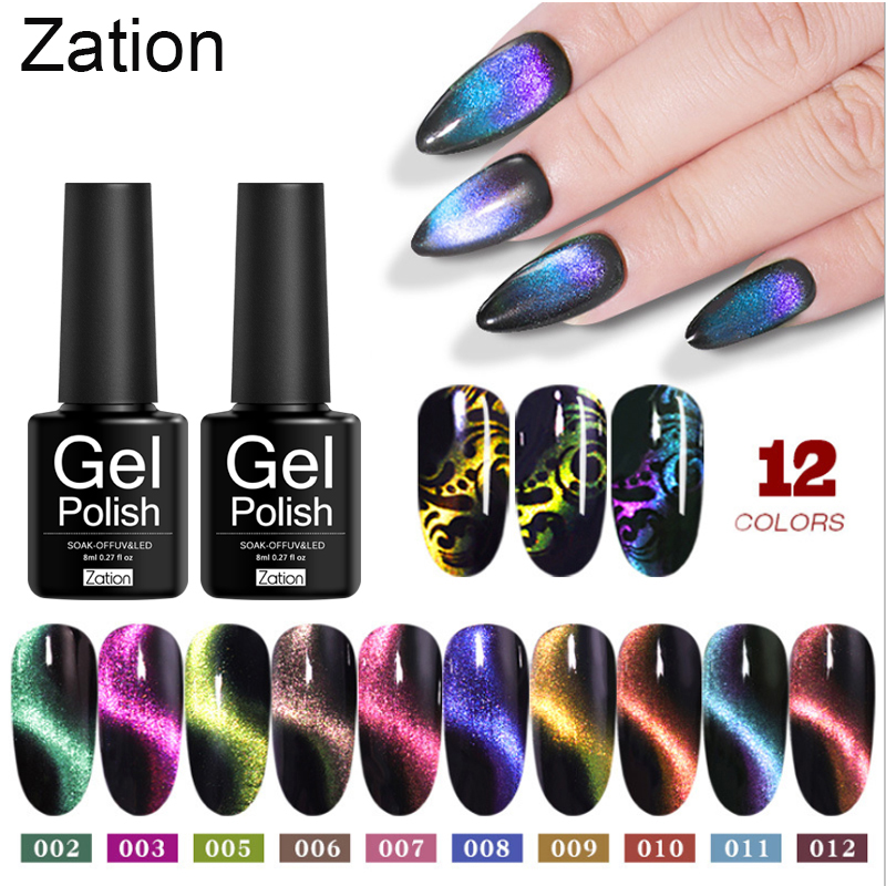 Zation 5D Cat Eye Soak Off UV Gel Lacquer Enamel Magnetic Lucky UV Gel Varnish Nail Art Chameleon For Manicure Nail Gel Polish