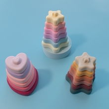 Baby Toy Soft  Stacking Blocks Heart Shape Silicone Jenga Wooden Construction Squeeze Toy Building Blocks Silicone Rainbow