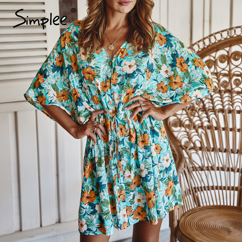 Simplee Floral Print Women Dress Casual V-neck Sash Loose A-line Cotton Summer Dress Casual Ladies Holiday Mini Beach Dress 2020