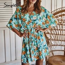 Simplee vestido com estampa floral feminino, casual, decote em v, solto, linha a, de algodão, para moças, casual, mini, para praia, 2020