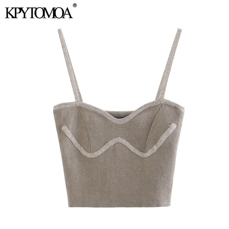 KPYTOMOA Women 2020 Sweet Fashion Ribbed Cropped Knitted Blouses Vintage Patchwork Thin Straps Female Shirts Blusas Chic Tops