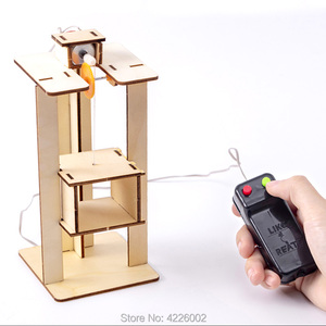 Kids DIY Kit Elevator Science Experiment Inventions STEM Toys Technology Electronic Construction Project for School Children Boy