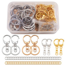 120pcs/box Mixed Color DIY Keychain Kits Accessories with Swivel Lobster Claw Clasps Jump Rings for Jewelry DIY making Connector
