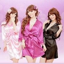 цена на Women Sexy Cardigan Lace Trim Short Sleeve Bathrobe Satin Sleepwear Short Kimono Lounge Robe Ladies Pajama
