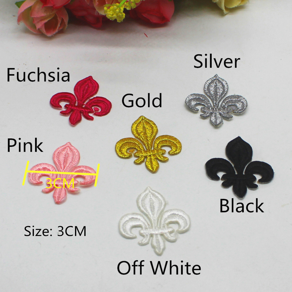 FLEUR DE LIS Large Black /& Gold Iron On Patch Mardi Gras