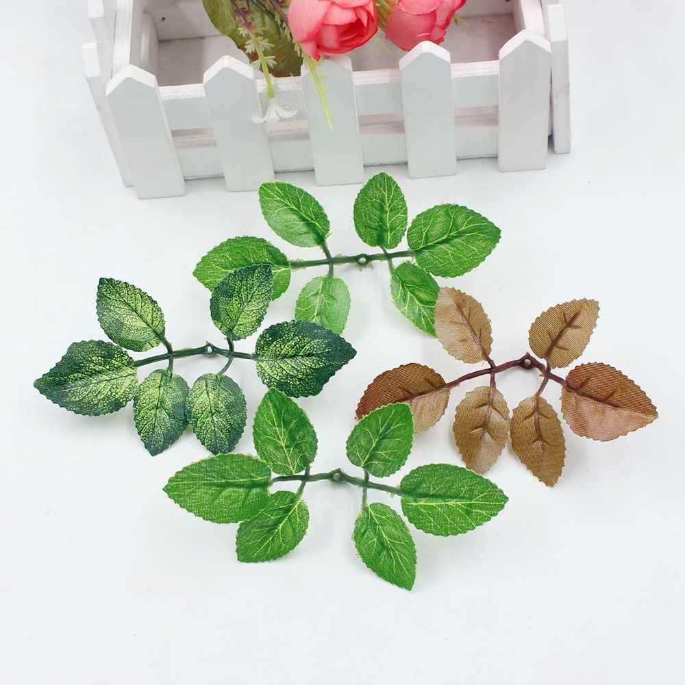 10pcs ירוק מלאכותי עלה פרח חתונה עיצוב הבית עלה זר אביזרי עלים diy לחתוך ולהדביק קרפט מזויף פרחים