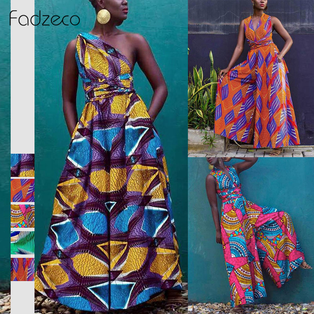 Fadzeco Dashiki African Clothes For Women Sleeveless Wide Leg Jumpsuit Bazin Ankara Dresses Ethnic Robe Africaine Femme