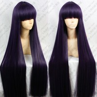 Sailor Moon Sailor Mars Rei Hino 100CM Long Straight Purple Black Heat Resistant Synthetic Hair Cosplay Costume Wig + Wig Cap