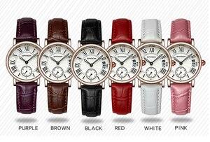Image 5 - 2020 SANDA ساعة ذهبية وردية للنساء فستان ساعة ماركة الإناث الجلود التقويم ساعة الكوارتز السيدات ساعة اليد Relogio Feminino