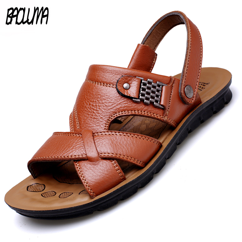 2020 New Mens Gladiator Sandals Summer Fashion Rome Style Mens Beach Shoes Handwork Mens Shoes Outdoor Dual-purpose Men Slippers
