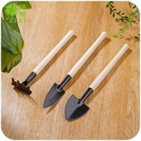 3 stücke Mini Anlage Garten Gartengeräte Set Mit Holzgriff Werkzeug Rake ShovelPlant Garten Boden Anhebung Blumen Holz Griff