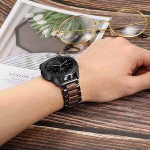 Image 5 - טבעי עץ & נירוסטה רצועת השעון + קישור מסיר לסמסונג גלקסי שעון 42mm 46mm SM R810/R800 שחרור מהיר רצועה בנד