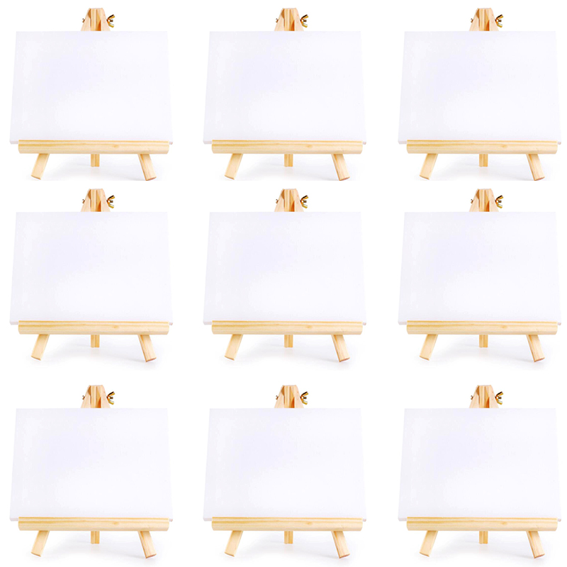 10 Set Artists Mini Canvas Set Painting Craft DIY Drawing Small Table Easel Gift