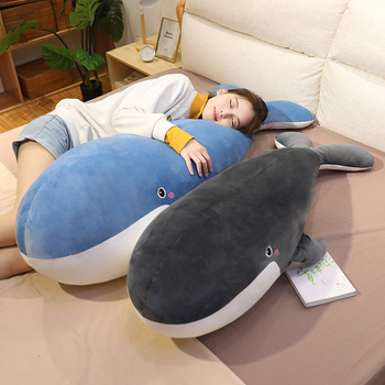 Nice Huggable Whale Plush Toys Popular Sleeping Pillow Travel Companion Toy Gift Shark Cute Stuffed Animal Fish for Children Kid loveyle super soft whale plush toy cartoon animal fish stuffed doll baby sleeping pillow cushion kid girlfriend christmas gift