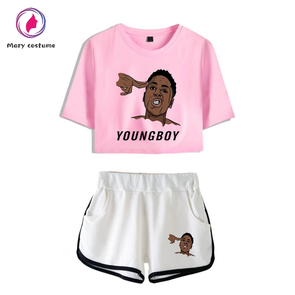 NBA YoungBoy  2 Piece Set Women Shorts Suit Summer Fashion Shirt And Shorts  Kpop Sexy Trend Casual Clothes