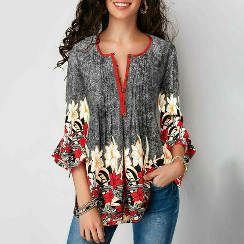 Autumn Elegant Women Ladies Boho Floral Loose Top Shirt 3/4 Sleeve Plus Size Tunic Blouse S-2XL Tunic Tops S-2xl Size