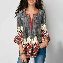 Autumn Elegant Women Ladies Boho Floral Loose Top Shirt 3/4 Sleeve Plus Size Tun
