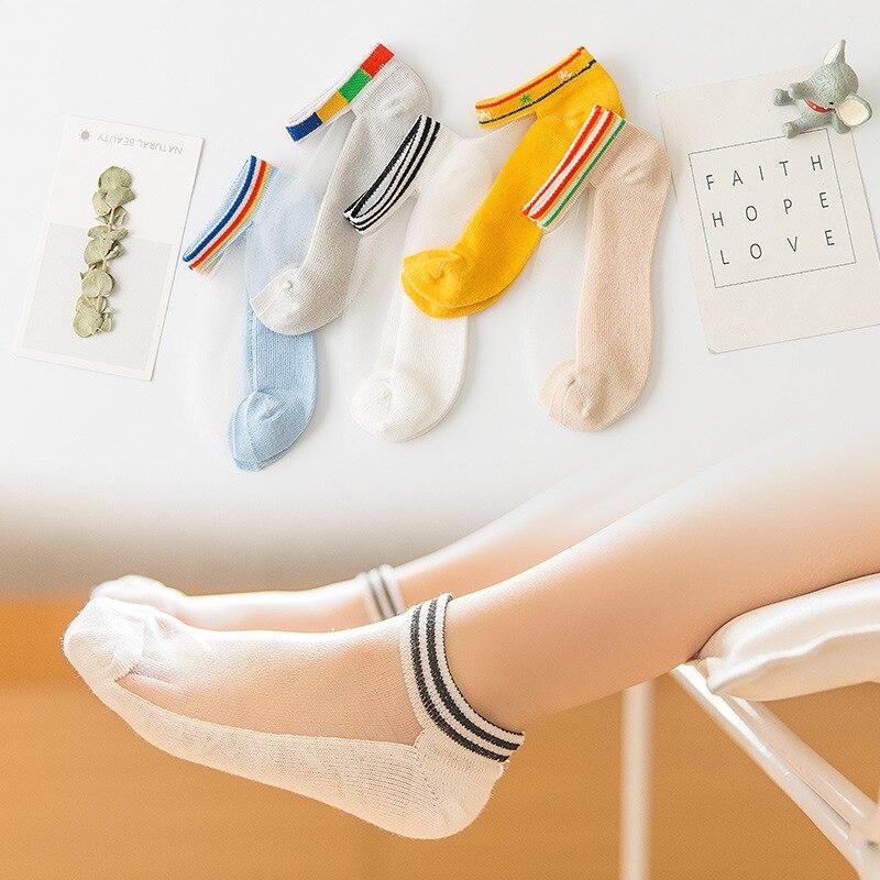 2019 New Style CHILDREN'S Socks Glass No-show Socks Men And Women Baby Cotton Socks Summer Thin Cotton Socks