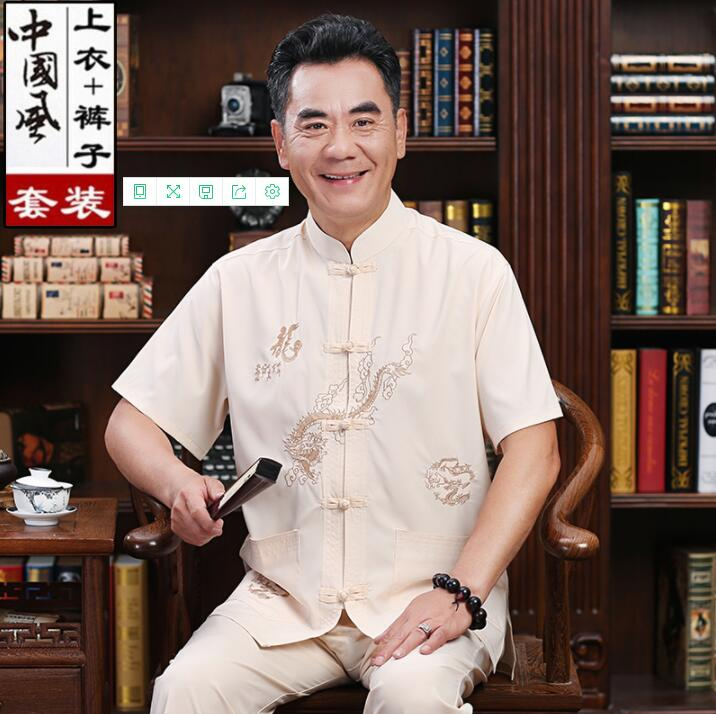 Summer Middle-aged Tang Suit Men Buckle Blazer Masculino Short Sleeve Silk Jaqueta Masculina Coats Mens Jacket Chinese Style