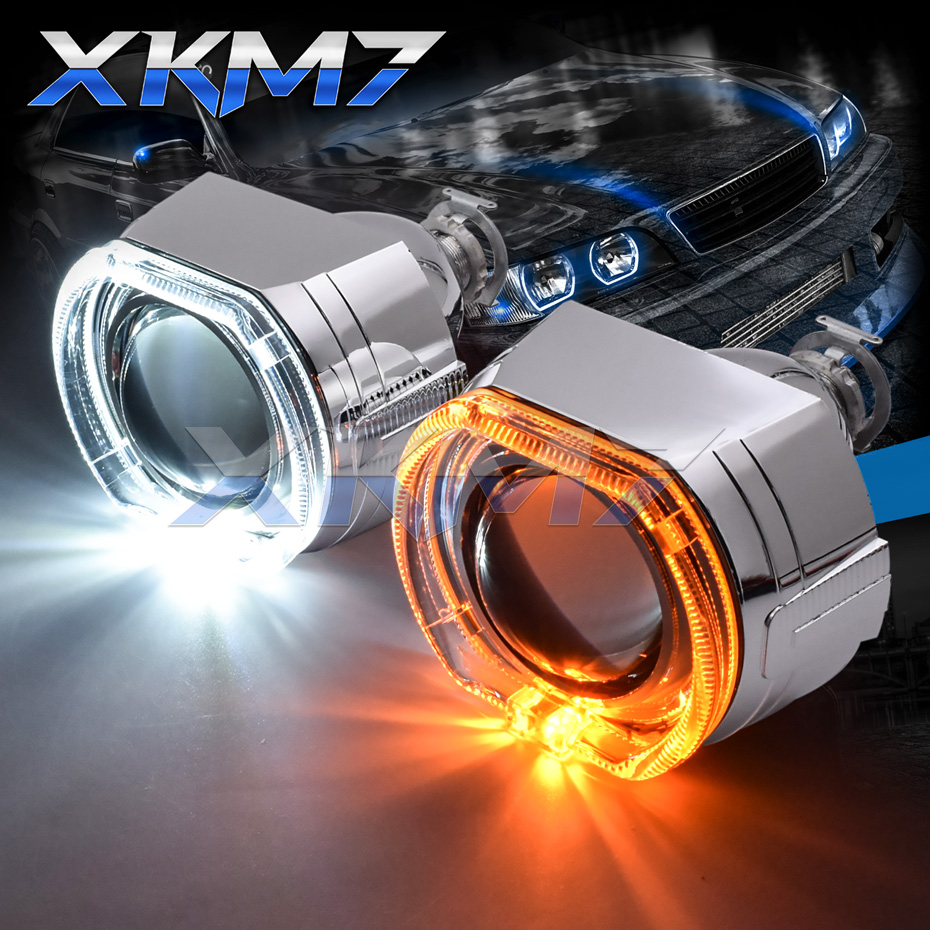 Headlight Lenses Angel Eyes Bi-xenon H1 HID Projector Square Switchback Running Lights Halo Lens Kit For H7 H4 Car Accessories