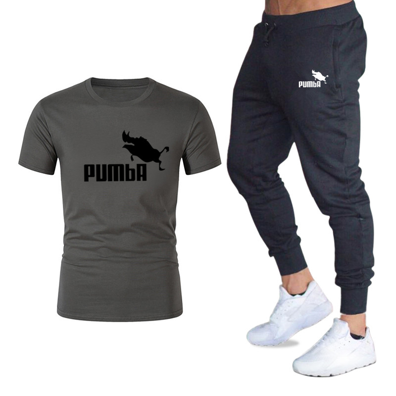 2020 Spring And Summer New Short-sleeved Men's T-shirt Sportswear Suit Casual Sportswear Men's Two-piece Sweatshirt + Sports Pan
