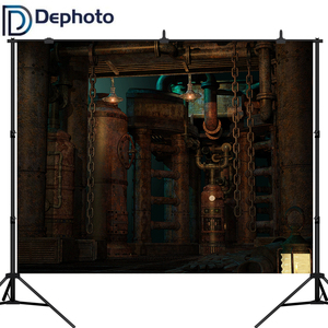 DePhoto Vinyl Backgrounds For Photo Studio Photography Backdrops Steam Technological Craft Style Mechanical vintage factory