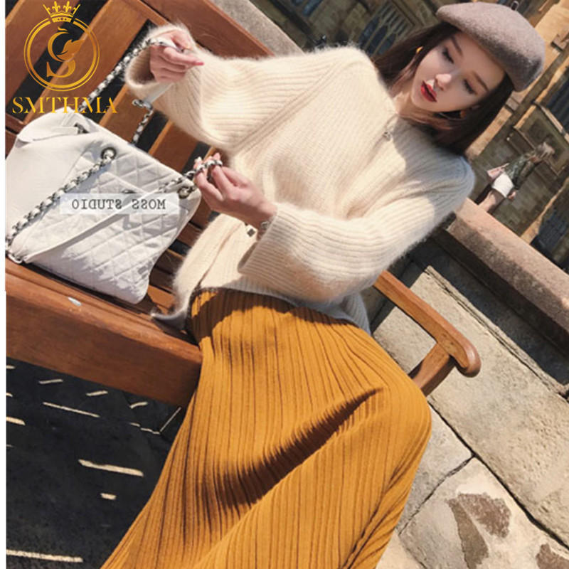 SMTHMA Women Winter Thicken Mink Cashmere Oversized Pullovers Sweater +womens Two Piece Graceful Vintage Pleated Long Skirt Set