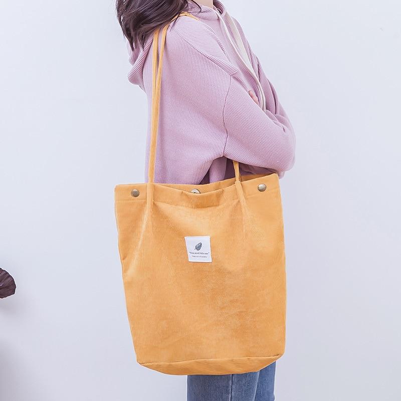 Women Corduroy Shopping Bag Female Canvas Cloth Shoulder Bag Environmental Storage Handbag Reusable Foldable Eco Grocery Totes 6
