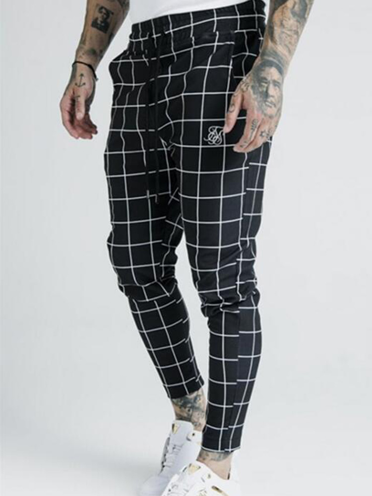 Fashion Men New 2020 Summer Thin Plaid Sik Silk Printing Casual Sports Pants Men's Street Fashion Slim Pants Polyester Quick-Dry
