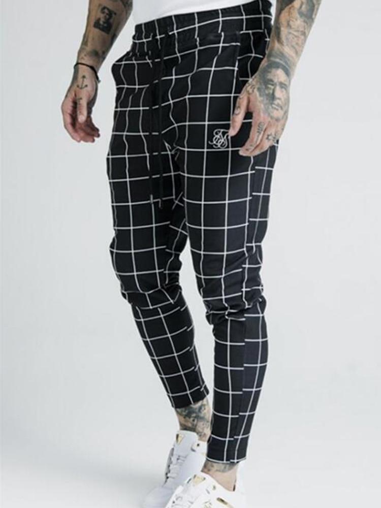 Fashion Men New 2020 Summer Thin Plaid Sik Silk Printing Casual Sports Pants Men's Street Fashion Slim Pants Polyester Quick-Dry