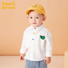 Blouse Shirt Solid Cotton CROWN Long-Sleeves White Baby-Girl TINY Autumn 0-4Y Boy