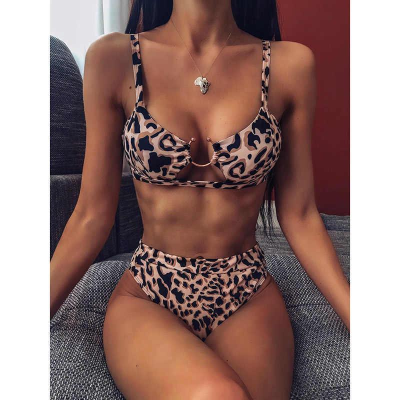 Bikini Nữ 2019 Cao Cấp Đầm Đẩy Lên Đồ Bơi Da Báo Bộ Đồ Tắm Đi Biển Gợi Cảm Biquini Brasil Miêu Bãi Biển Nữ