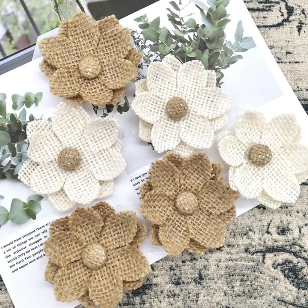 5Pcs Handmade Jute Hessian Burlap Rose Artificial Flowers Vintage Rustic Wedding Christmas Home Decoration DIY Craft Supplies