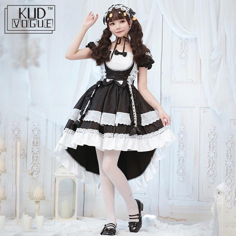 Gothic Lolita Dress Victorian Ball Gown Cosplay Costume Short Sleeve Lace Maid Outfit Trim Bowknot Retro Kawaii Op Dress Women
