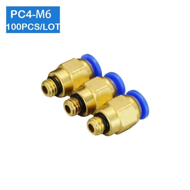 شحن مجاني جودة عالية 100 قطعة PC4 M6 ، 4 مللي متر إلى M6 هوائي موصلات الذكور مستقيم تركيبات بلمسة واحدة