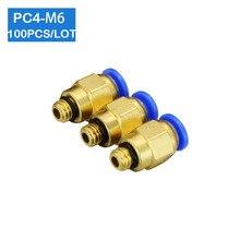 Envío Gratis, alta calidad, 100 Uds., PC4 M6, 4mm a M6, conectores neumáticos macho rectos, accesorios de un solo toque