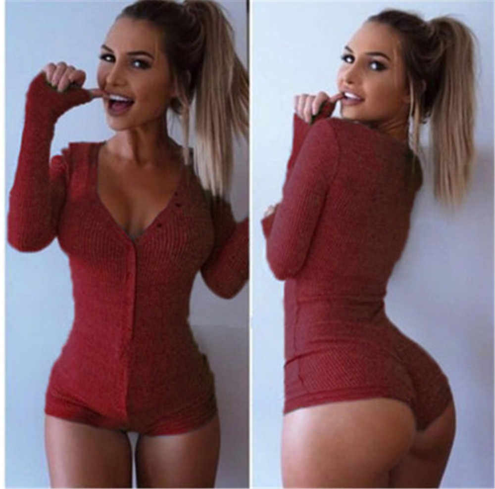 Nuevo otoño mujeres Sexy cuello en V de algodón bodycon ceñido tejido mono ropa de mujer