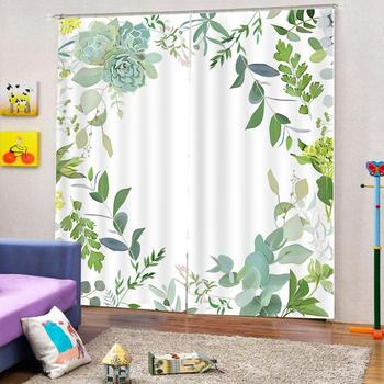 Decoration curtains Abstract depicting flowers print Customized 3D Blackout Curtains Living Room Bedroom Hotel Window