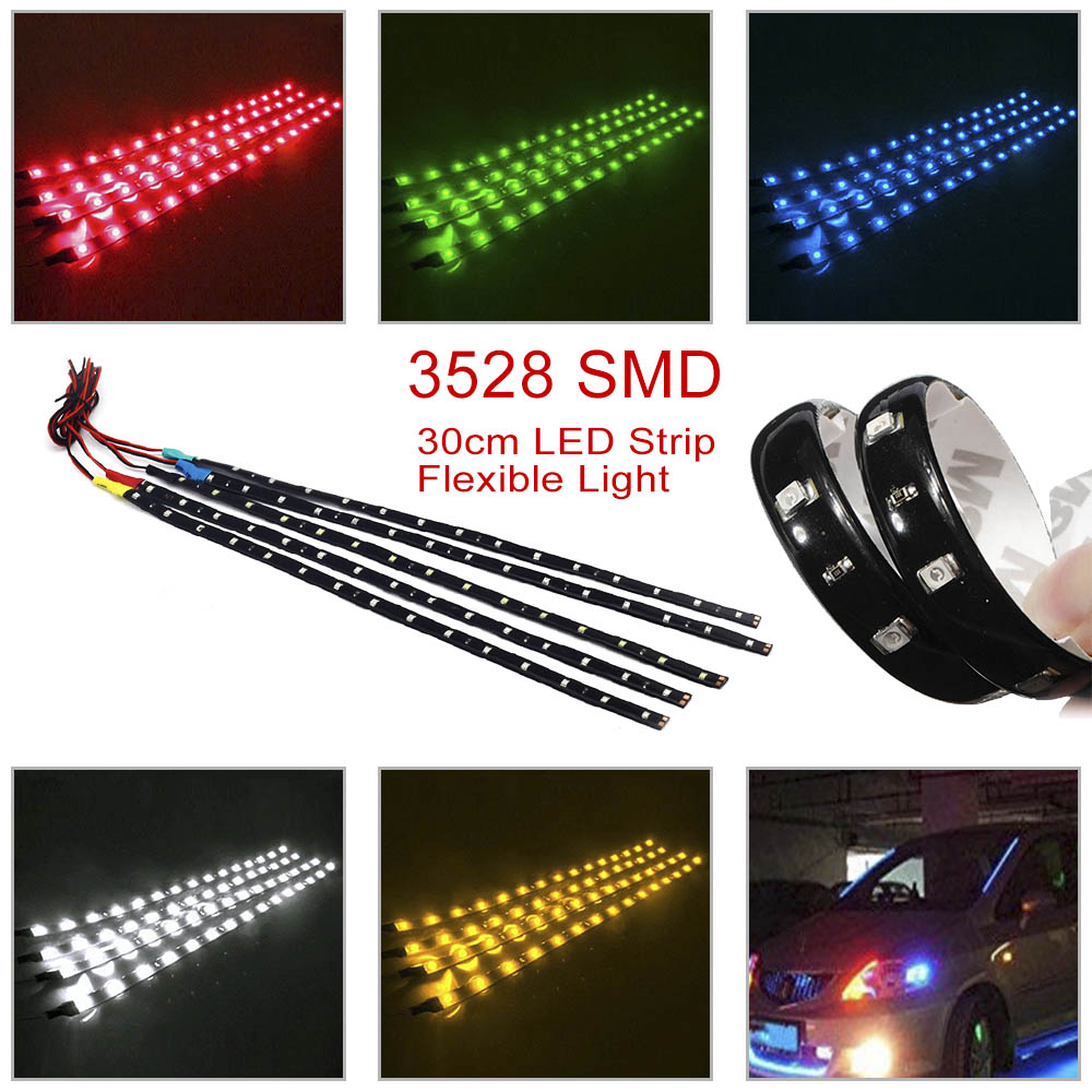 2 PCS LED strip SMD3528 Waterproof Flexible 30CM Red Green Blue White Warm white Super bright car Styling decor stickers lamp